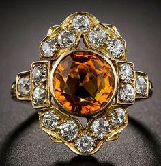 Citrine and Diamond Dinner Ring