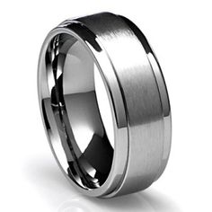 Satin Finish Men S Tungsten Wedding Band With Polished Edges 8mm Mens Bands And