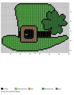 ST PATTY HAT 2 by RUTH ANN RITTACCO -- WALL HANGING Plastic Canvas Crafts, Plastic Canvas Patterns, Needlepoint Patterns, Perler Patterns, Cross Stitching, Cross Stitch Embroidery, St Patrick's Day Crafts, Canvas Designs, St Paddys Day