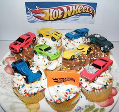 Hot Wheels Race Car, Sports Car, High Tech Car Toy Figure Birthday Cake Toppers / Cupcake Party Favor Decorations Set Of 9 photo ideas from Amazing Party Decoration Ideas Hot Wheels Party, Hot Wheels Cake, Hot Wheels Birthday, Race Car Birthday, Cars Birthday Parties, Birthday Ideas, 2nd Birthday, Hotwheels Birthday Cake, Brother Birthday