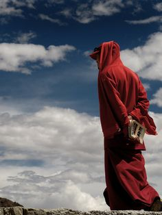 Monk in the clouds, Leh, Burma