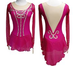 This deep fushcia pink figure skating dress with pink and gold accents was created for a Romeo and Juliet figure skating programs. Learn more about custom figure skating dresses at http://sk8gr8designs.com