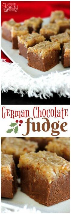 Looking for the perfect chocolate fudge recipe but with a little twist? You are going to love this rich, smooth German chocolate fudge topped with a chewy coconut topping! via (Homemade Chocolate Fudge) Köstliche Desserts, Chocolate Desserts, Delicious Desserts, Dessert Recipes, Dinner Recipes, Chocolate Tarts, Chocolate Cupcakes, German Chocolate Fudge Recipe, Chocolate Trifle