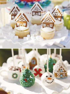 Mini gingerbread house cupcake toppers and pops