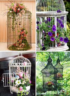 com flores -gaiolas com flores - Gartenblumen , Floral design I made using wire bird cage glued to. Birdcage Planter, Pot Jardin, Bird Cages, My Secret Garden, Dream Garden, Yard Art, Garden Projects, Garden Ideas, Container Gardening