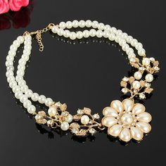 Sale 13% (4.47$) - Rhinestone Pearl Flower Statement Necklace Gold Plated Jewelry