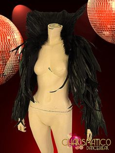 High Collared Long-Sleeved Bordello Style Iridescent Black Raven Feather Jacket