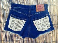Vintage Levis Denim High Waist Cut off Shorts Crochet on http://lolobu.com/o/690