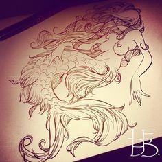 Mermaid Tattoo Designs, Mermaid Tattoos, Pirate Mermaid Tattoo, Siren Tattoo, Mermaid Artwork, Mermaid Drawings, Body Art Tattoos, Tattoo Drawings, Art Drawings