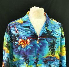f58ebe8ab Details about RARE ~ Royal Creations ~ Made in Hawaii Mens Size XL BLUE  PARIOTS Hawaiian Shirt