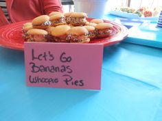 Let's Go Bananas whoopie pies; Nila wafers witha sliced banana, peanut butter and sprinkles. Fresh beat band theme food!!