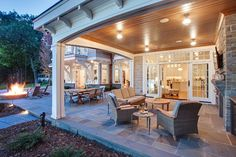 Patio Layout. Patio Layout Ideas. Interesting Patio Layout with fire pit, covered patio with fireplace and kitchen. #PatioLayout John Kraemer & Sons.