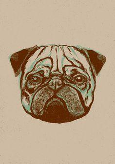 Animals by Joanna Walczykowska, via Behance Pink Unicorn Wallpaper, Pug Love, Silk Screen Printing, Pugs, Beast, Dog Cat, Illustration Art, Skull, Graphic Design
