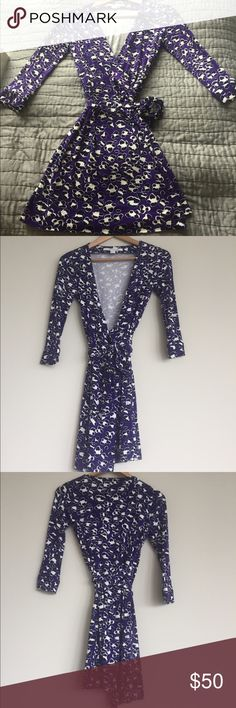 Authentic DVF dress in purple and white - size 0 Very good condition - DVF dress Diane von Furstenberg Dresses Mini