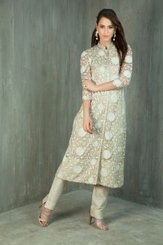 Net Kurta embellished with thread and zardozi work with straight pants