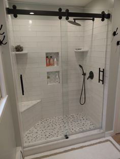 Updated Bathroom Custom Shower + Cambridge Shower Doors + Black Ladder Pulls + Walk-in Shower + Master Bathroom Shower, Walk In Bathroom Showers, Walk In Shower Doors, Bathroom Shower Remodel, Corner Showers, Tiled Showers, Master Bath Shower, Small Shower Remodel, Glass Shower Doors