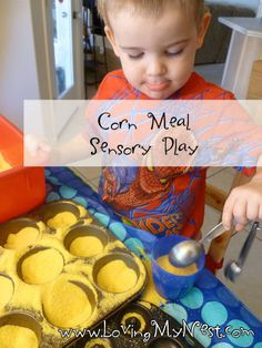 Cornmeal Sensory Play @ Loving My Nest