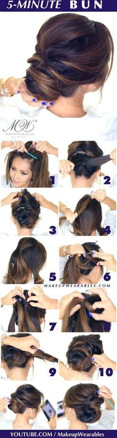 hair tutorial - easy romantic bun hairstyle - Elegant twisted bun hairstyles for homecoming prom wedding: by angie