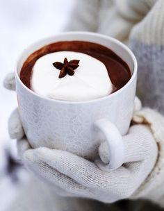 Warm hot chocolate white mittens Toni Kami  Joyeux Noël  Christmas photography
