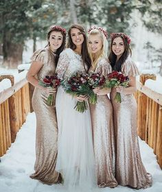 Bridesmaid Gowns Gold Sequin Bridesmaid Dresses for a Winter Wedding - Winter wedding bridesmaids dresses can come in a range of styles and designs. If you're struggling to find some unique ideas, why not look at these? Christmas Bridesmaid Dresses, Romantic Bridesmaid Dresses, Winter Wedding Bridesmaids, Wedding Bridesmaid Dresses, Wedding Dress Styles, Wedding Party Dresses, Bridesmaid Ideas, Dress Party, Party Wedding
