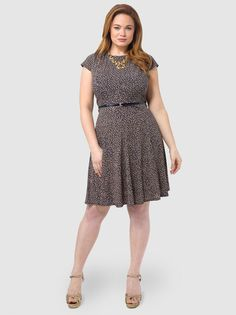 979762dab380 Belted Fit & Flare Dress With Cap Sleeves by Jessica Howard. Knee Length  DressesDresses ...
