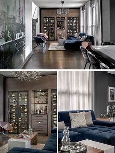 Wine Room Ideas - This modern wine room has been furnished with a ink blue sectional, has custom-built wine chillers, and a chandelier by Lucy Slivinsky, that's made of metal car parts. Blue Sectional, Grey And White Rug, Man Cave Room, Modern Interior, Interior Design, Shower Floor Tile, Tile Covers, Wall Hung Vanity, Square Dining Tables