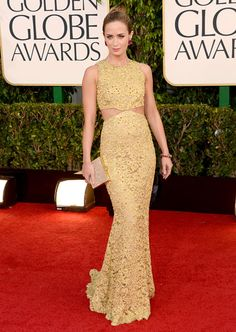 Emily Blunt showed off her slim shape in Michael Kors at the 2013 Golden Globes.