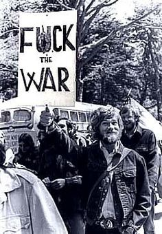 "Most of the anti-Vietnam protests took place during the 70s, which was also the ""hippie"" time period. The ""hippie mentality"" influenced a lot of the slogans on posters, etc., but do phrases like the above evoke the peace they sought? Is this ""fuck the war"" approach the proper approach to take in any circumstance in which one is seeking peace?"