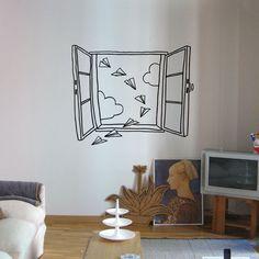 Paper Airplane Window ~Vinyl Wall Decor