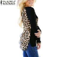 Zanzea Blusas 2016 Autumn Hot Sale Women Casual Blouses Sexy Tee Tops Long Sleeve Leopar #women #top #casual #clothes #new https://seethis.co/PLZ31x/