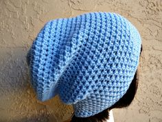 Light Blue Slouch  Crochet Slouchy Beanie  by YarnOverDesign