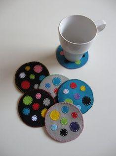 Items similar to Polka Dot Felt Coasters (set of on Etsy Felt Coasters, Fabric Coasters, Mug Rug Patterns, Felt Patterns, Felt Decorations, Decoration Table, Homemade Coasters, Felt Fish, Penny Rugs