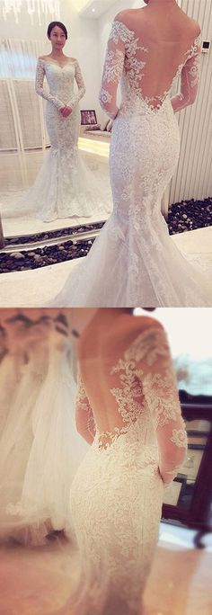 Trumpet/Mermaid Wedding Dresses,Off-the-Shoulder Wedding Dresses,Long Sleeves Wedding Dress,Lace Wedding Dresses With Sweep/Brush Train,Sexy Wedding Dresses,Wedding Dress