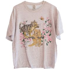 1993 Vintage Cute Kittens in Cherry Blossom Tree T-shirt ($24) ❤ liked on Polyvore featuring tops, t-shirts, shirts, tees, pink shirt, pink top, cherry blossom shirt, checked shirt and bumble bee t shirt