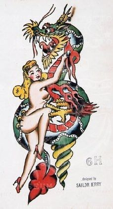 Sailor Jerry - Sailor Jerry maybe a bulma throw Pin Up Tattoos, Dream Tattoos, Sailor Jerry Tattoo Flash, Helmet Drawing, Vintage Tattoo Design, Tattoo Museum, Old School Tattoo Designs, Traditional Tattoo Design, Vintage Flash
