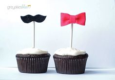 Gender Reveal Cupcake Toppers: Bows and Mustaches. $15.00, via Etsy.