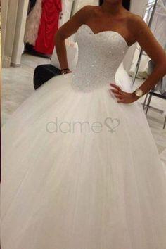 Trägerlos Herz-Ausschnitt Duchesse-Linie Rücken Schnürung Brautkleid