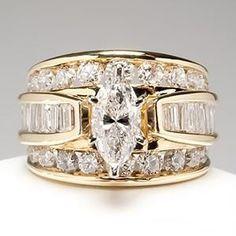 Idée et inspiration Bague Diamant :   Image   Description   Wide Band Diamond Engagement Rings | Marquise Diamond Engagement Ring Wide Band 14K Gold – EraGem