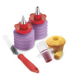 Cuisipro Cupcake Corer and Decorating Set  Making cream-filled and jelly-stuffed cupcakes is a snap with the specially designed corer in this set. Washable icing tubes with tips in multiple sizes let you frost like a pro.