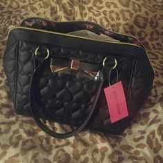 3a4c4eef7c3 Betsey Johnson black handbag BETSEY JOHNSON MINI BELTED QUILTED HEARTS  BLACK FAUX LEATHER SATCHEL TOTE HANDBAG