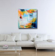Large Blue Yellow Abstract Print, Giclee Print, Wall Art, Canvas Print from Painting, Expressive Canvas Art, Blue Yellow Grey White Abstract Print Abstract art canvas print from one of my original abstract paintings. The canvas prints are made to order and printed professionally on quality canvas using archival inks. The canvas prints are gallery wrapped with staples on the back and will arrive stretched and ready to hang. This canvas print is available in the following si...