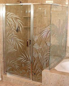 etched glass shower door enclosure ferns anthurium