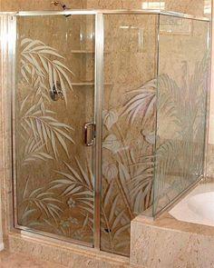 etched glass shower door enclosure ferns anthurium
