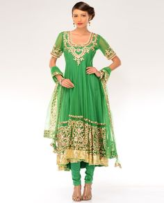 Peridot Green Kalidar Suit with Gota Patti Embellishments  by Preeti S. Kapoor