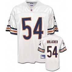 Brian Urlacher White Jersey $19.99 This jersey belongs to Brian Urlacher, Chicago Bears #54  Color: white, Size: M, L, XL, XXL, XXXL  The jersey is made of heavy fabric with nylon diamond weave mesh