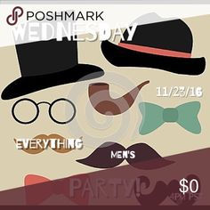 """Posh Party! Join me this Wednesday, November 23rd at 4pm PST / 7pm EST for my first ever Posh Party! The theme is """"Everything Men's""""! Feel free to tag me and your PFFs who have Posh compliant listings that fit the theme and I'll consider you for a Host Pick! See you there! Accessories"""
