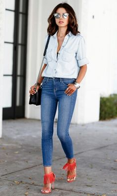 Jeans com sandalia