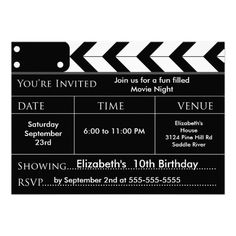 MOVIE NIGHT Birthday Party Invitation by celebrateitinvites Movie birthday party invite Start your movie party off right with our cute movies birthday party Invitation perfect for a … Movie Party Invitations, Invitation Fete, Carton Invitation, Birthday Invitations, Wedding Invitations, Backyard Movie Party, Backyard Movie Nights, Hollywood Birthday Parties, Hollywood Theme