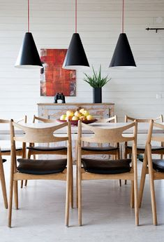 Dining room chairs, white brick wall Lights