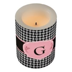 Black and White Weaving pattern with Monogram Flameless Candle - pattern sample design template diy cyo customize